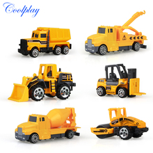 Coolplay 6pcs/set mini Diecasts Car alloy construction vehicle Engineering Car Dump Truck Artificial Model Toys For boy kids(China)