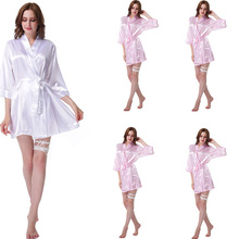 5 Piece Suit Women Silk Satin Wedding Bride Bridesmaid Robe Kimono Style Fashion Pajamas Short Robe Sleepwear Rayon Bathrobe LP(China)