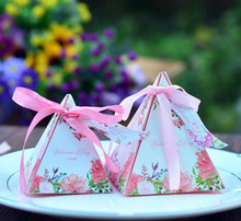 200pcs  Creative personality candy boxes  paper gift triangle European candy boxes