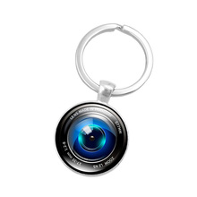 Silver Color Key Chain Camera Lens Keychain Jewelry Handmade Art Glass Pendant Keyring Key Ring for Women New 2016 Gifts