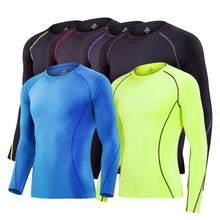 2017 adult football jerseys Men's Running Tights Sportswears Long Sleeve training fitness quick-drying base compression shirt(China)