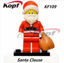 KF109 10Pcs Building Blocks Santa Clause Figures Christmas Stockings With Bag Christmas Gifts Action Bricks Toys for children