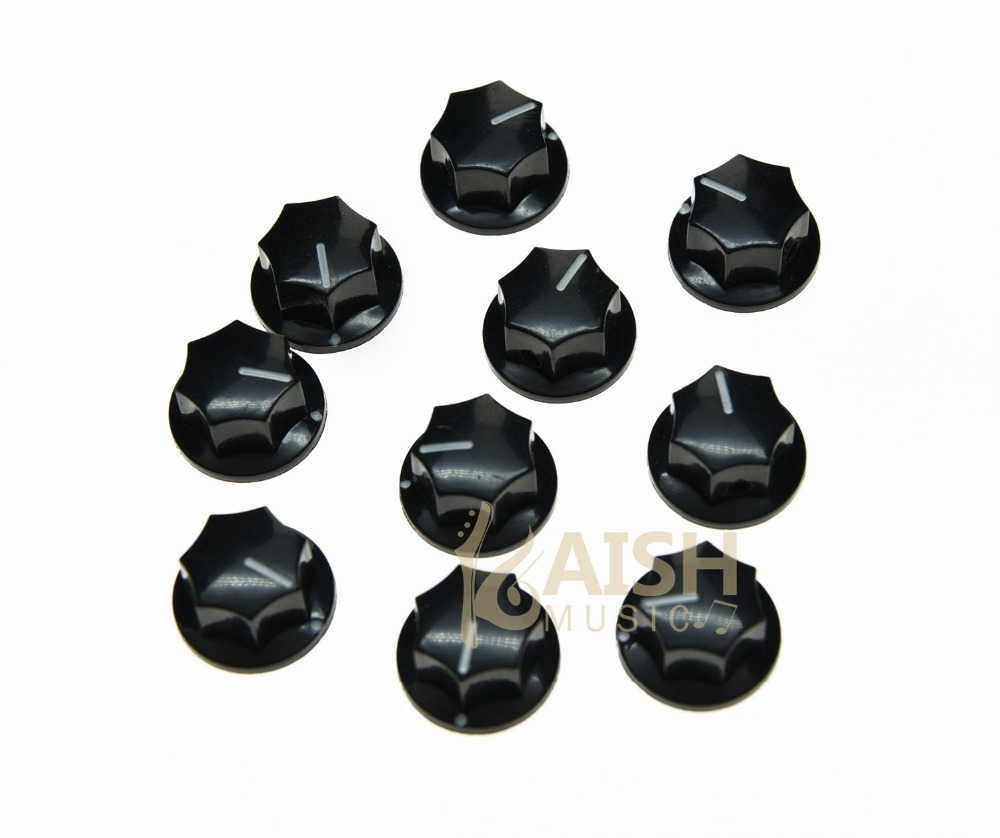 10x Black Small Size MXR Style Skirted AMP Knob Effects Pedal Knobs Brass Insert<br><br>Aliexpress