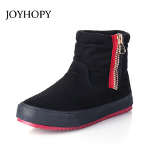 JOYHOPY 2017 New Winter Korean Style Nubuck Leather Ankle Boots Women Side Zipper Snow Boots Woman Warm Non-slip Shoes AWB0013