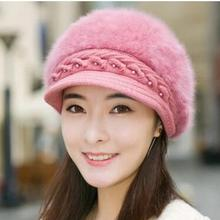 2018 Frans Brandi S Autumn and winter The lady pearl Bailey pure rabbit hair hat eyelid Winter Knit peaked cap(China)