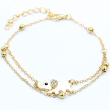 Female Feet Bracelet Women gold 2 Layer Link Chain Crystal Elephant Charm Anklet Metal Beads Barefoot Sandal Foot Jewelry(China)
