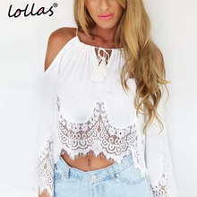 lollas Women Lace Blouses Summer Strapless Patchwork White Shirt Short Beach Style Blouse Tops