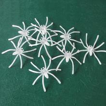 20pcs New Noctilucent Plastic White Spiders Halloween Decoration Festival Supplies Funny Joking Toys