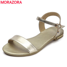 MORAZORA Size 34-46 New genuine leather sandals women shoes fashion flat sandals buckle strap summer rhinestone ladies shoes(China)
