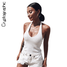 Buy Cryptographic Backless halter knitted crop tops women 2017 V neck tank top sleeveless sexy top camisole short tank vest clothing