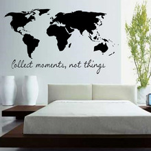 BucKoo Wall stickers Collect Moments Not Things Wall Stickers Quotes Vinyl Removable Bedroom World Map Wall Decals home decor