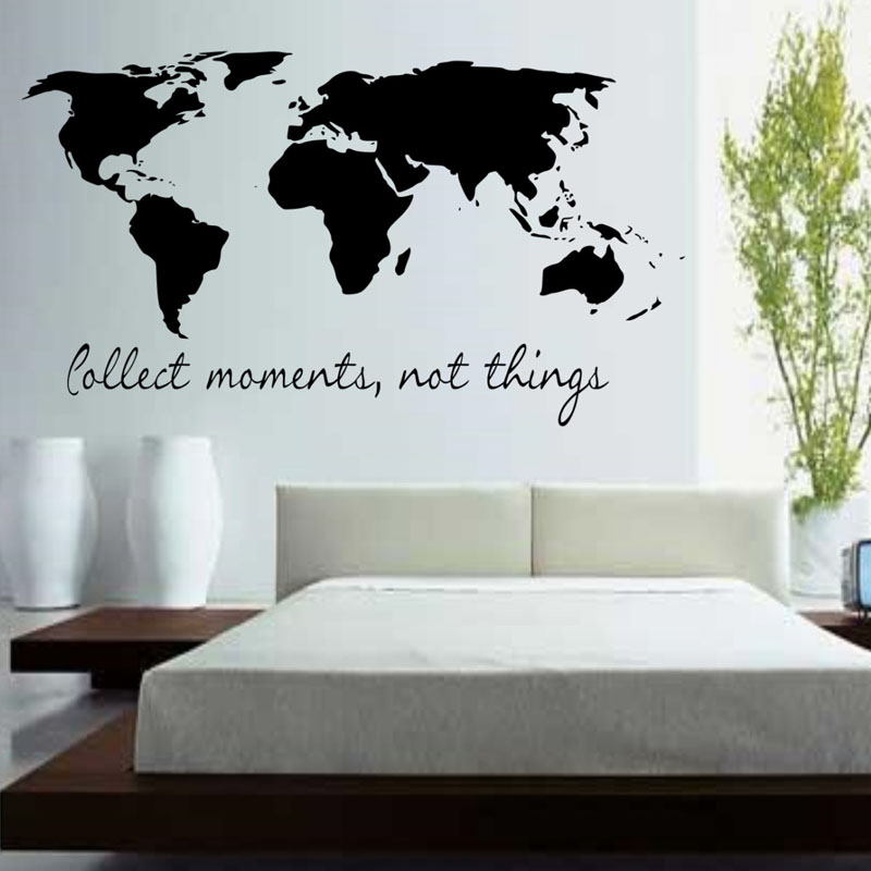 BucKoo Wall stickers Collect Moments Not Things Wall Stickers Quotes Vinyl Removable Bedroom World Map Wall Decals home decor(China)
