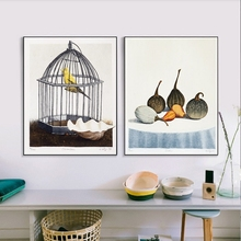 Canary and Pumpkin American Village Still Life Canvas Oil Painting Living Room Nordic Bird Birdcage Poster Picture Print Decor(China)