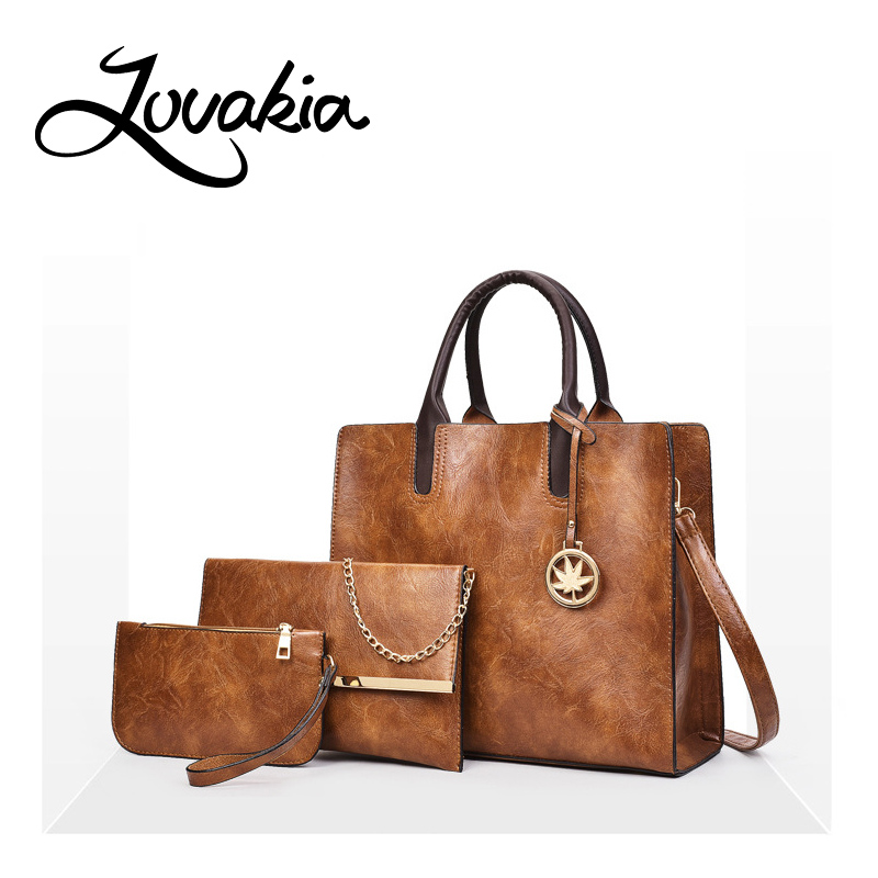 LOVAKIA 3Sets Women Bag High QualiryTote Bag Women Shoulder Bag Solid Ladies Handbags Composite Bag+ Fashion Ladies Wallet<br>