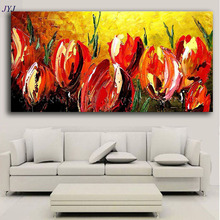 Handpainted Tulips  Picture, Modern Abstract Oil Painting on Canvas Wall Art for Home Decoration by Top JYJ  Artist no Framed