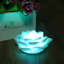 Romantic Seven Color Changing LED Lotus Flower Night Light Festival Party Love Wedding Bar Decoration Nightlight Atmosphere Lamp