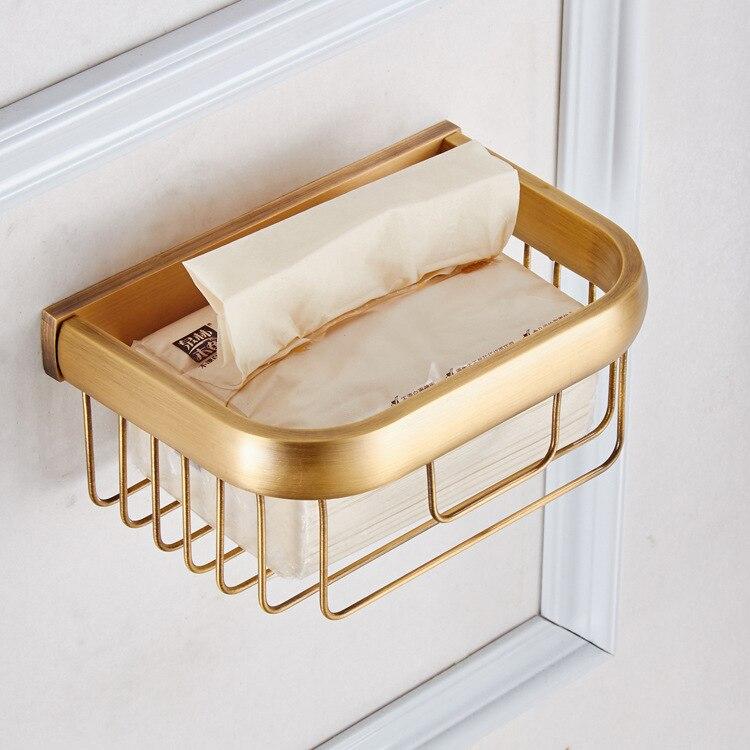AUSWIND Antique Brushed Solid Brass Bronze Small Bathroom Shelf Brass Wall Mount Bathroom Storage Basket AR3<br>
