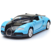 Electronic Alloy Pullback Bugatti Veyron Promo Models Luxurious Car Diecast Toy, Retail Box Birthday Gift to Children for Boy