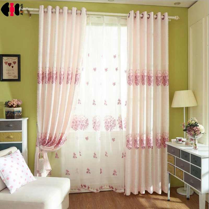 European Luxury Embroidered Pink Sakura Curtains Jacquard Cotton Linen Bedroom Wedding Room Blackout Treatment Cortinas WP388C