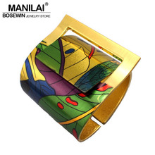 MANILAI Fashion Country Style Painting Design Opened Big Cuff Bangle Bracelet For Women High Quality Costume Jewellery 2017