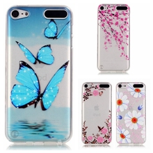 Beautiful butterfly flower Design Transparent soft TPU Case Cover For Apple iPod Touch 5 / Touch 6 Silicone Cell Phone Cases