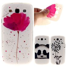 Fashion Red Flower Panda Printing Soft Silicone TPU Back Cover For Samsung Galaxy S3 i9300 Neo Duos Phone Protective Cases