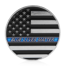 Blue Flag Shield Commemorative Coins Thin Blue Line Lives Matter Police Americas Shield Commemorative Challenge Coin(China)