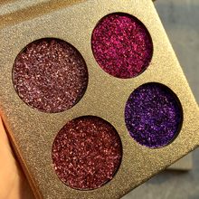 2017 New beauty glazed Shining Eyeshadow Palette Waterproof Pigment Red Gold Purple 4 Color Pressed Glitter Eye Shadow Cosmetics(China)