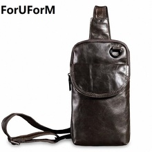 ForUForM 2017 New Genuine Leather Men Shoulder Bag Casual Cowhide Leather Men's Crossbody Bags Travel Chest Pack Men Bag LI-1935(China)