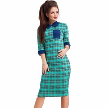 YJSFG HOUSE Casual Vintage 3/4 Sleeve Knee-Length Office Work Dresses 2017 Spring Summer Ladies Floral Plaid Print Party Dress