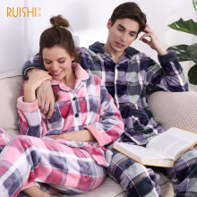 Ruishi winter coral velvet pajama set woman grid thick turn-down collar warm pajamas female button comfort Couple home clothin(China)
