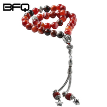 BFQ 100% Original Natural Striped Red Agates Stone 33 Prayer beads Islamic Muslim Tasbih Rosary Misbaha Bead For Famliy friends(China)