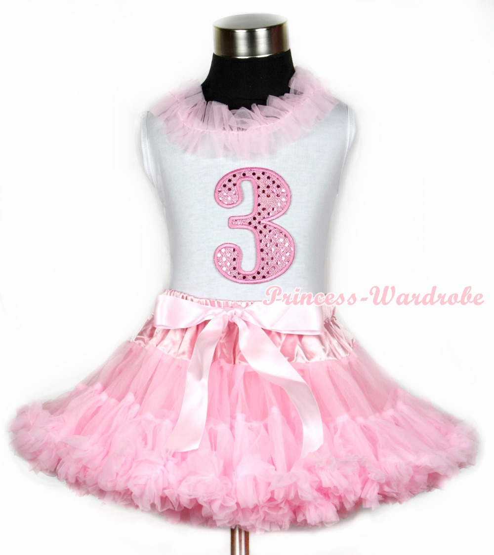Halloween White Tank Top With Light Pink Chiffon Lacing &amp; 3nd Sparkle Pink Birthday Number Print With Pink Pettiskirt MAMG669<br>
