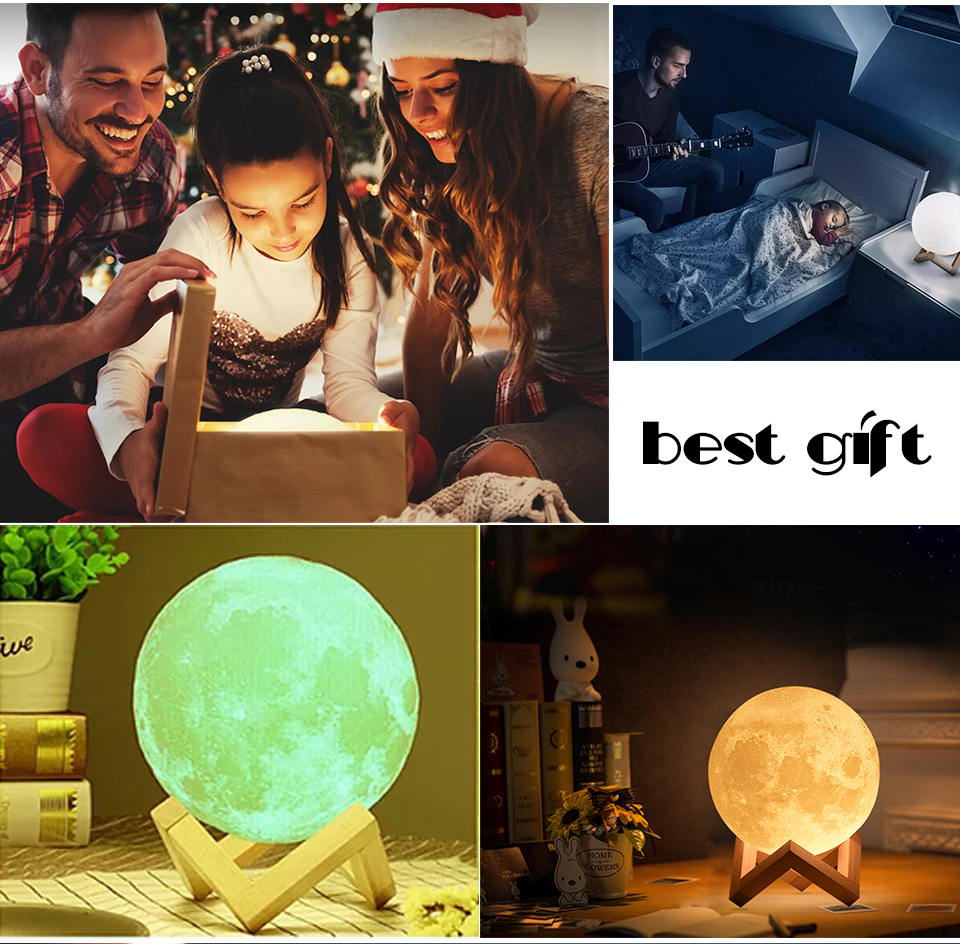 Foxanon 3D Print Moon Light Earth Lamps Rechargeable Color Change Touch Sensor Switch Remote Used as Home Table Lamp Decoration (14)