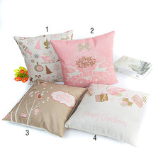 Cushion Cover Christmas Festival 45X45cm Romatic Pink Pillow Cases New Year Gift Bedroom Sofa Decoration For girl Drop Ship EY11(China)