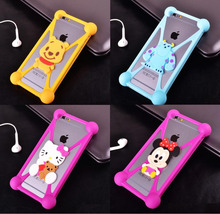 Universal Silicone Phone Case 3D Cartoon Stitch Minnie kitty Bear Frame Bumper For Iphone 4 5 S 6 Cover For All Phone 4.7 inch