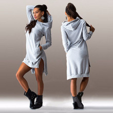 Hot Explosion New Women Dress Irregular Long-Sleeved Dresses Hooded Cotton Long Sleeve Fashion Casual Style Sweatshirts