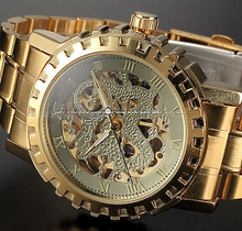 Gold Skeleton Dragon Stailess Steel Wrist Men Automatic Mechanical Watch Free shipping