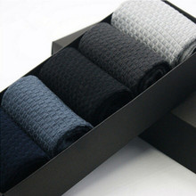 5Pair/Lot Mens Dress Bamboo Socks Male Brand Quality Small Squares Business Long Socks Men  Socks