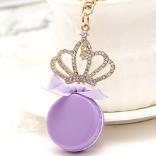 Creative Charm Imperial Crown Macarons Key Chain Ring Holder France Cake Keychain Women Bag Pendant Keyfob Accessories Gift R208