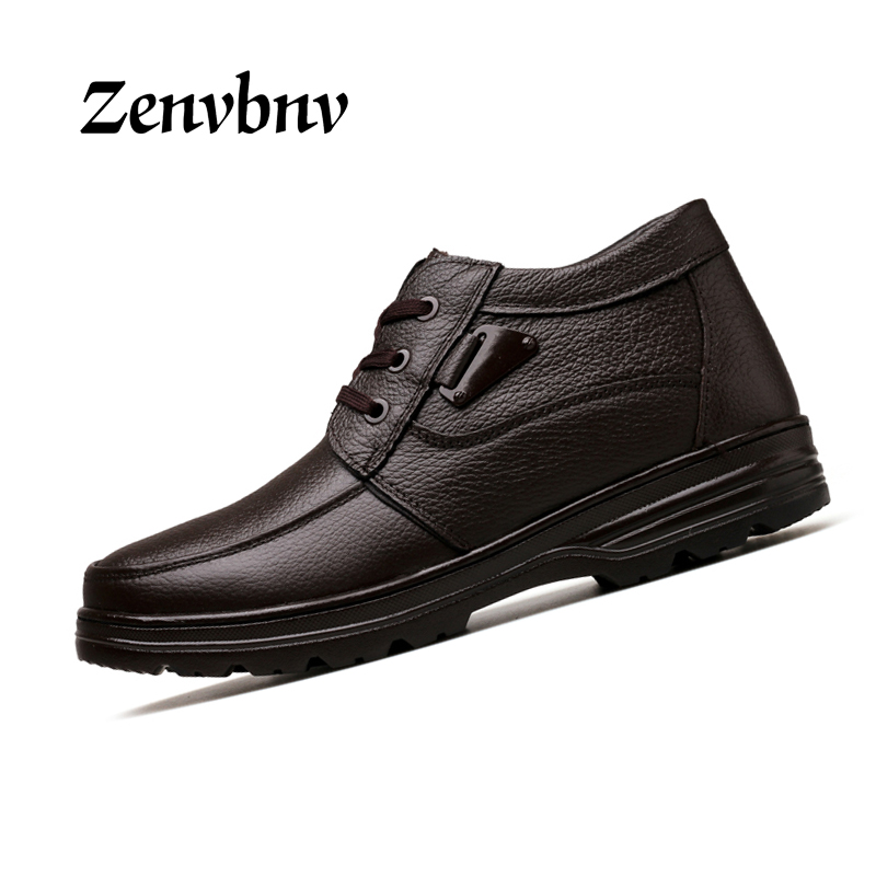 ZENVBNV Brand Winter Men Genuine Leather Shoes Fashion Warm Working Plush Ankle Boots Casual Lace Up Flats Male black Snow shoes<br>