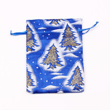 Free Shipping 100pcs Blue Satin Bag 9x12cm Drawable Jewelry Gift Packaging Bag Favour Christmas Satin Gift Bags & Pouch