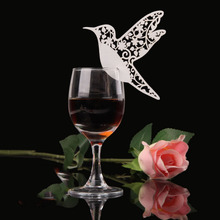 Hot Sale 50pcs/Set Creative Bird Paper Wine Glass Place Card Wedding Party Decoration Paperboard(China)
