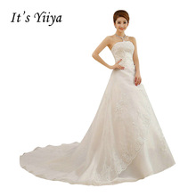 HOT Free shipping white Train wedding dress 2015 plus size fashionable Vestidos De Novia Cheap Wedding Gowns Bride Frocks XXN001(China)