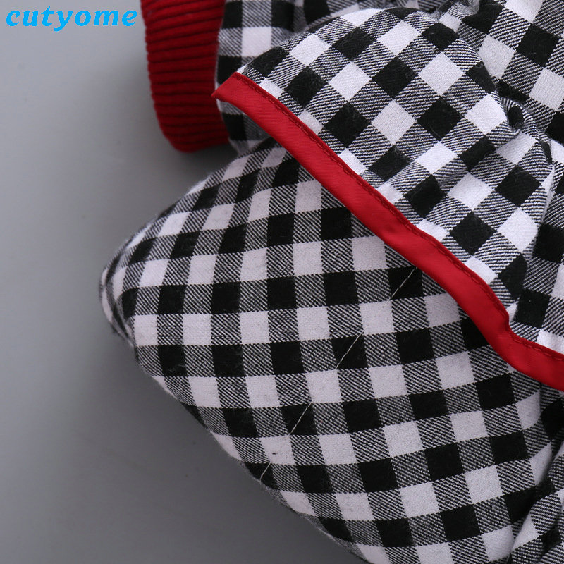 Cutyome Newborn Baby Girls Outwear Coats Hooded Plaid With Bow Cotton Winter Jackets Children Infant Padded Thick Jacket Clothes (27)