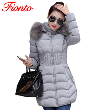 FIONTO 2017 Womens Winter Jackets And Coats Thick Warm Hooded Cotton Padded Parkas For Women's Winter Jacket Manteau Femme A193