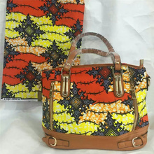 New Wax Printed Hand Bag with nice PU leather + Super real wax print one piece of 6yards  BG1025