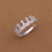 Wholesale 925 jewelry silver plated ring,silver plated fashion jewelry ring,Multi-inlaid stone crown Rings SMTR254(China)