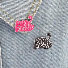 PinkFloyd Band Pins Button Fashion Pink Black Letters Metal Enamel Brooch Denim Jacket Collar Lapel Badge Music Jewelry Gift(China)