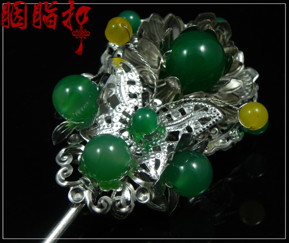 Double-faced Green agate classical hair stick handmade hair stick cos accessories costume hair accessory<br>